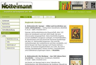 Internetauftritt mit Shop und Aritikelsuche: Buchhandlung Nottelmann