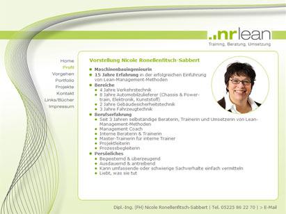 Internetauftritt von Nicole Ronellenfitsch, Lean-Management-Trainerin